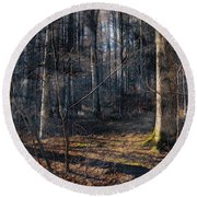 Sun In The Forest Round Beach Towel