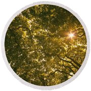 Sun In The Trees Round Beach Towel