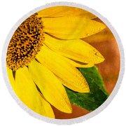 Sun-kissed Sunflower Round Beach Towel