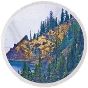 Sun Notch On A Rainy Day At Crater Lake National Park-oregon Round Beach Towel