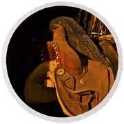 Sun On Leather Horse Saddle In Tack Room Equestrian Fine Art Photography Print Round Beach Towel
