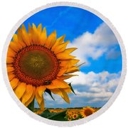 Sun On My Face Round Beach Towel