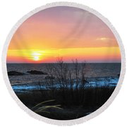 Sun On Water Round Beach Towel