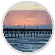 Sun Over Crowed Pier Round Beach Towel