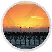 Sun In Clouds Over Pier Round Beach Towel