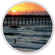 Sun Over Pier And Bird In Surf Round Beach Towel
