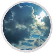Sun Peeping Out Round Beach Towel