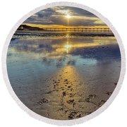 Sun Ray Sunset Saltburn Round Beach Towel