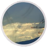 Sun Rays Ecclesiastes Chapter 3 Verse 11 Round Beach Towel