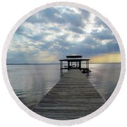 Sun Rays On The Lake Round Beach Towel