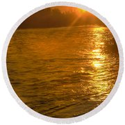 Sun Rays On The Payette River Round Beach Towel