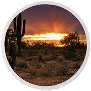 Sun Rays Over The Sonoran Desert  Round Beach Towel
