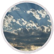 Sun Rays Through The Clouds   # Round Beach Towel
