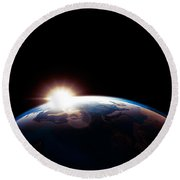Sun Rising From Behind Planet Earth Outline Round Beach Towel