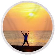 Sun Salutations Round Beach Towel
