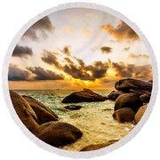 Sun Sand Sea And Rocks Round Beach Towel