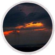 Sun Set On Cadillac Mountain Round Beach Towel