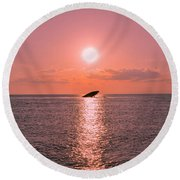 Sun Setting On Atlantus Round Beach Towel