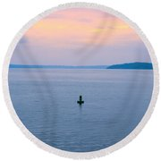 Sun Setting Over Puget Sound Round Beach Towel