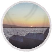 Sun Setting Over Wales Round Beach Towel