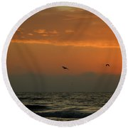 Sun Up With Birds Round Beach Towel