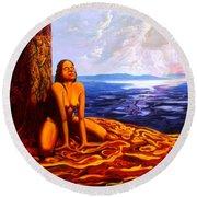 Sun Woman Round Beach Towel