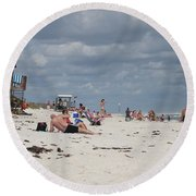 Sunbathers Round Beach Towel