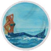 Sunbathing Mermaid Round Beach Towel
