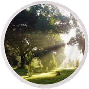 Sunbeam Landscape Round Beach Towel