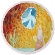Sunburst, 1989 Wc On Paper Round Beach Towel