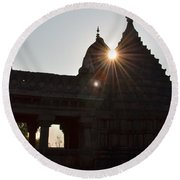 Sunburst At The Temple Of The 64 Yoginis Round Beach Towel