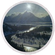 1m9313-sunburst Over Grand Teton, Wy Round Beach Towel