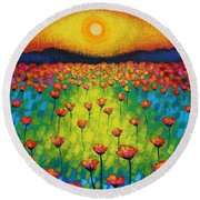 Sunburst Poppies Round Beach Towel