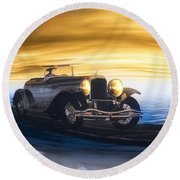 Sunday Drive Round Beach Towel