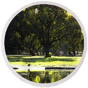 Sunday In The Park Round Beach Towel by Anne Mott