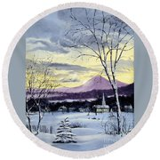 Sunday In Winter Round Beach Towel