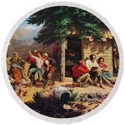 Sunday Morning In The Mines Round Beach Towel