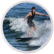Sunday Morning Surfing Round Beach Towel