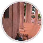 Sunday Mourning At Denver Civic Centre Round Beach Towel