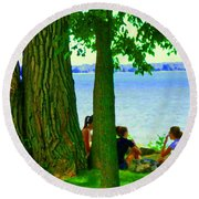 Sunday Picnic On The Lake Maple Trees At The Canal Pte Claire Montreal Waterscene Carole Spandau Round Beach Towel