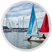 Sunday Sailing 2 Round Beach Towel