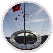 Sundial St Katherines Dock Round Beach Towel