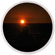Sundown Alone Round Beach Towel