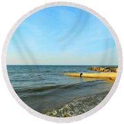 Sundown At Lake Erie  Round Beach Towel