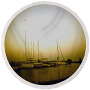 Sundown By The Lake Round Beach Towel