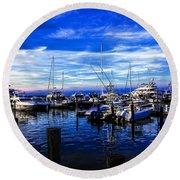 Sundown In Sag Harbor Round Beach Towel