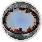Sundown In The Chicago Canyons Polar View Round Beach Towel by Thomas Woolworth