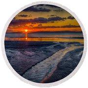 Sundown On Prestwick Beach Round Beach Towel