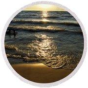 Sundown On The Beach Round Beach Towel