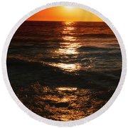 Sundown Reflections On Lake Michigan  01 Round Beach Towel